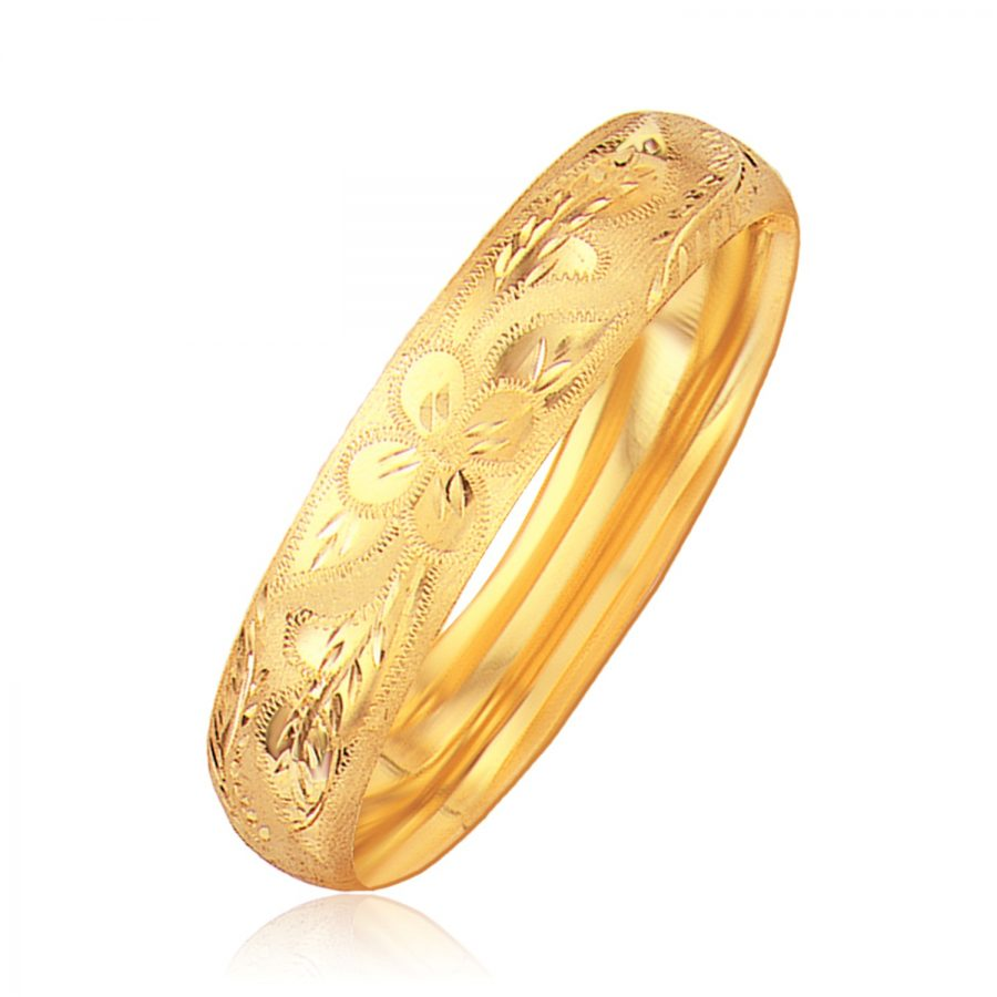 Classic Floral Carved Bangle in 14K Yellow Gold (13.5mm)