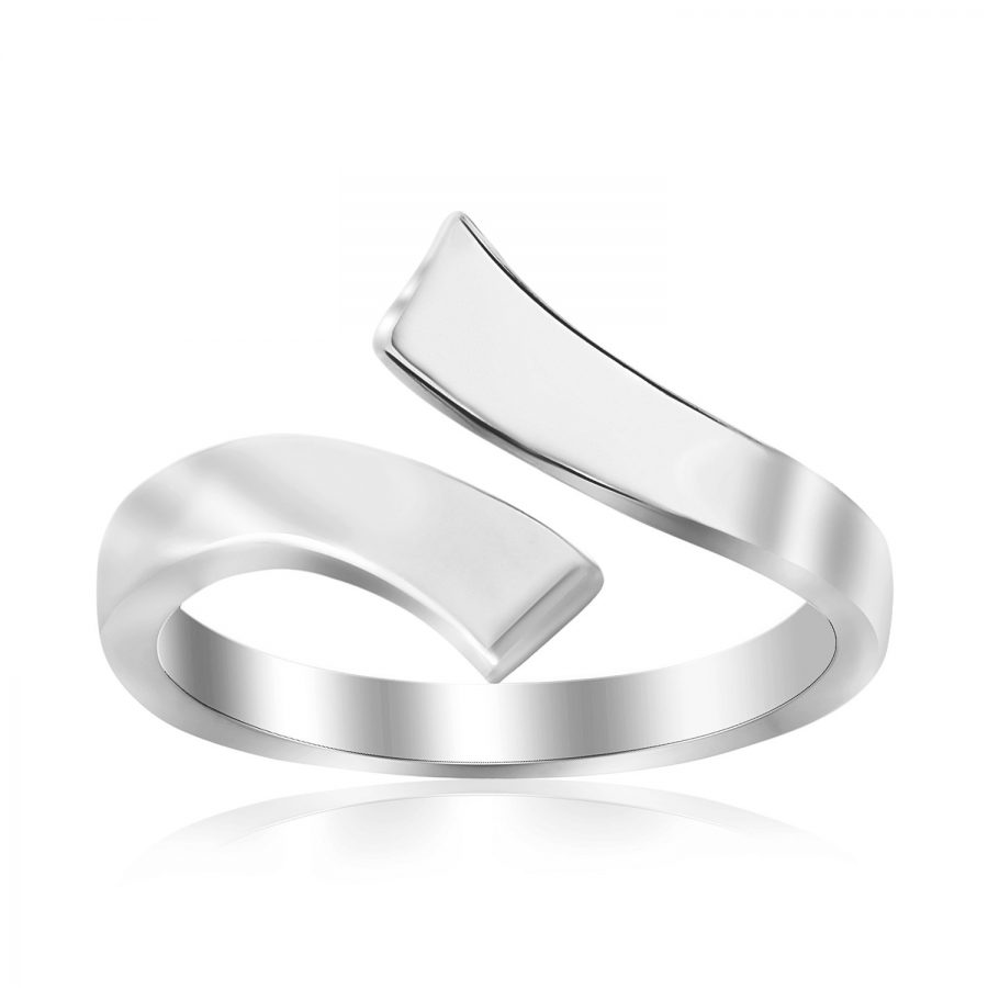 Sterling Silver Rhodium Plated Overlap Style Polished Toe Ring