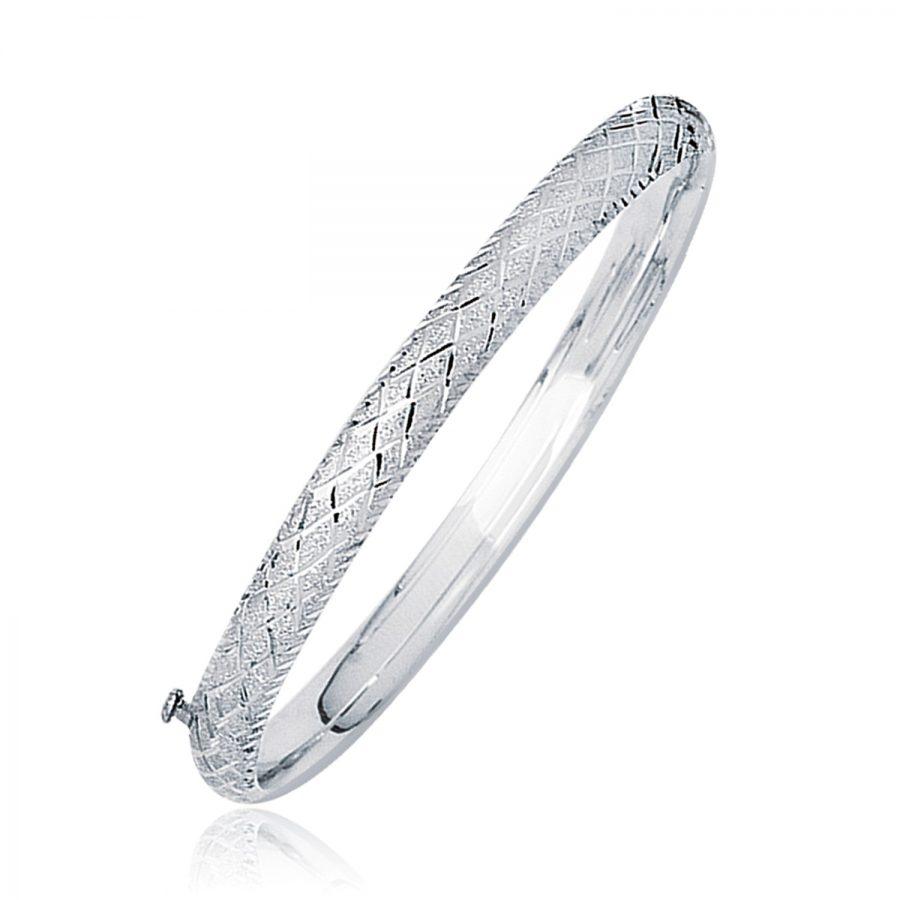 14K White Gold Diamond Carved Bangle (6.0 mm)