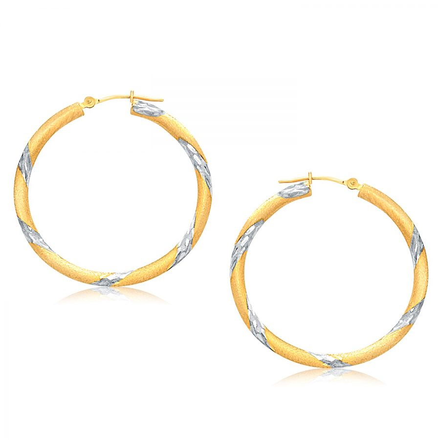14K Two Tone Gold Polished Hoop Earrings (30 mm)