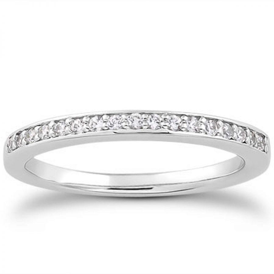 14K White Gold Micro-pave Flat Sided Diamond Wedding Ring Band