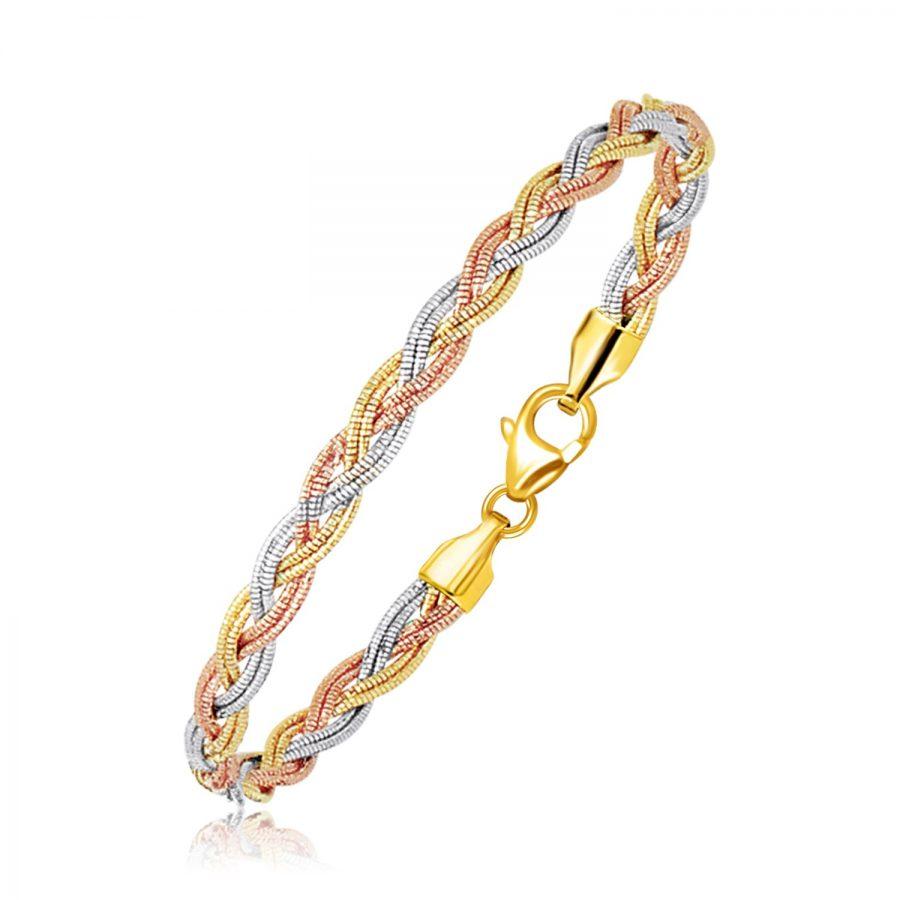 14K Tri-Tone Gold Braided Design Multi Strand Mirror Spring Bracelet