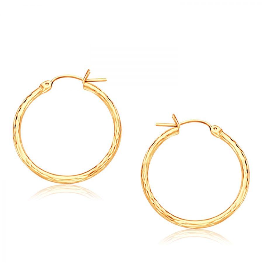 14K Yellow Gold Diamond Cut Hoop Earrings  (25mm Diameter)