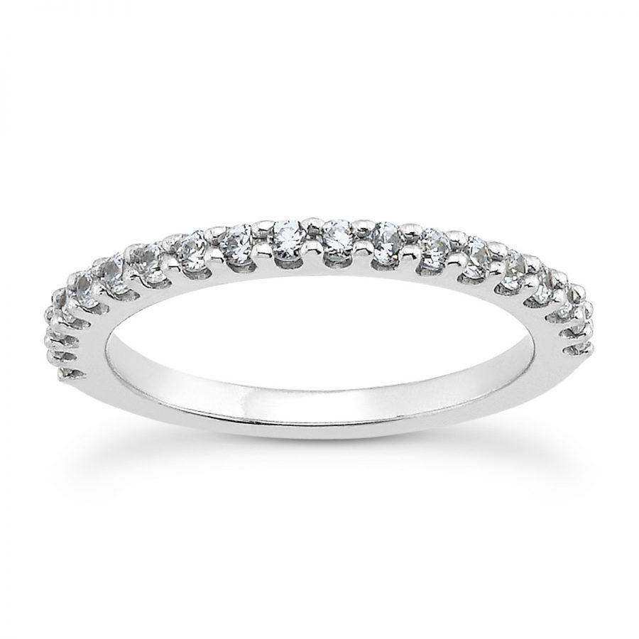 14K White Gold Shared Prong Diamond Wedding Ring Band with U Settings