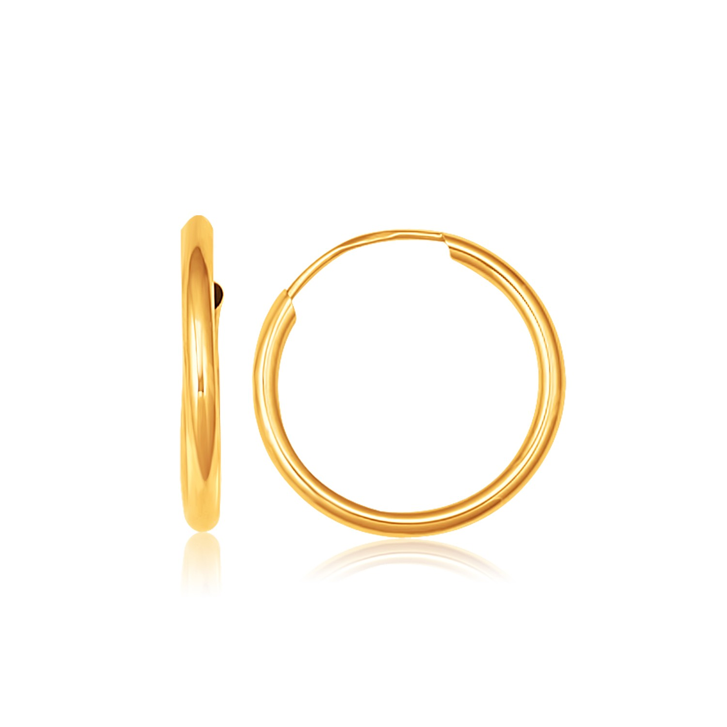 14K Yellow Gold Polished Diamond Cut 25mm Endless Hoop Earrings