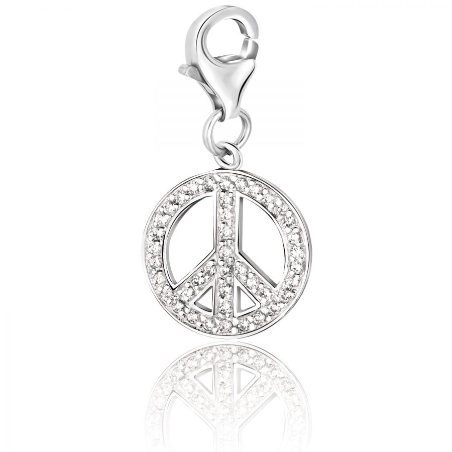 Sterling Silver Peace Symbol White Tone Crystal Studded Charm