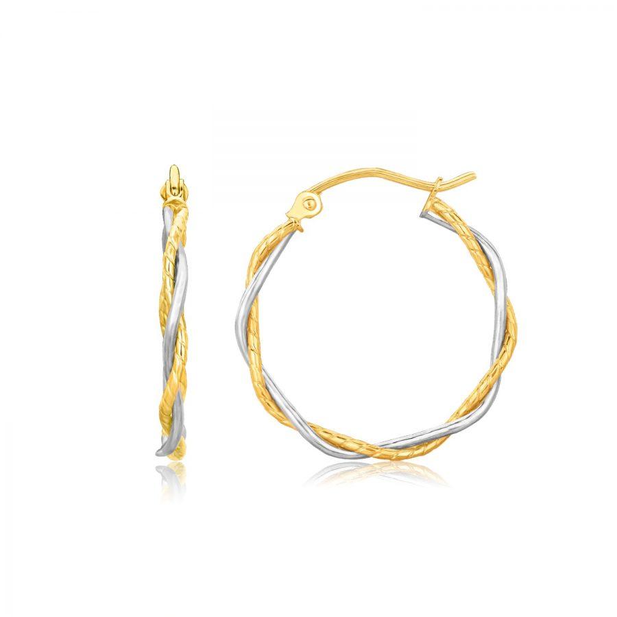 14K Two Tone Gold Twisted Hoop Earrings (1 inch Diameter)