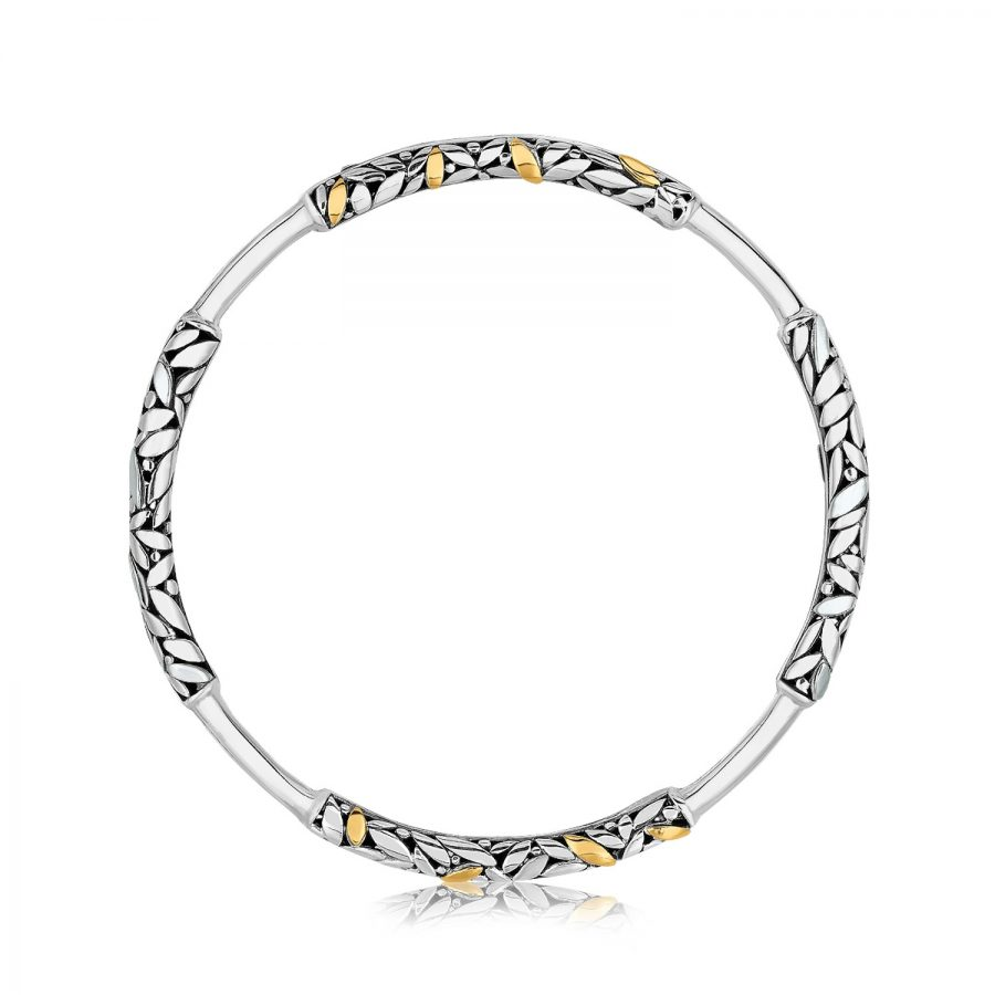 18K Yellow Gold and Sterling Silver Slip On Bangle with Leaf Like Detailing