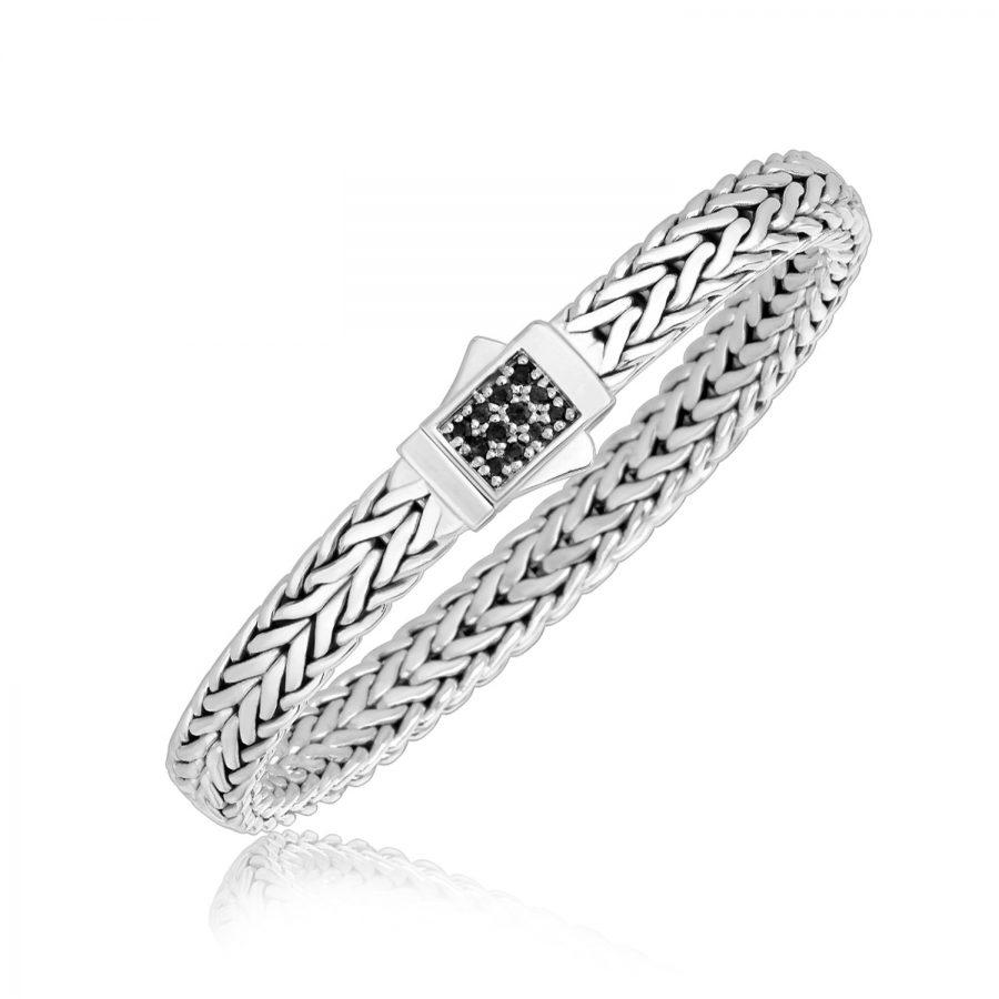 Sterling Silver Braided Black Sapphire Embellished Men's Bracelet