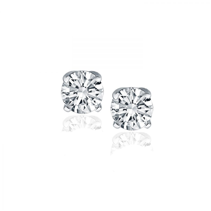 14K White Gold Diamond Four Prong Stud Earrings (1 c.t. tw.)