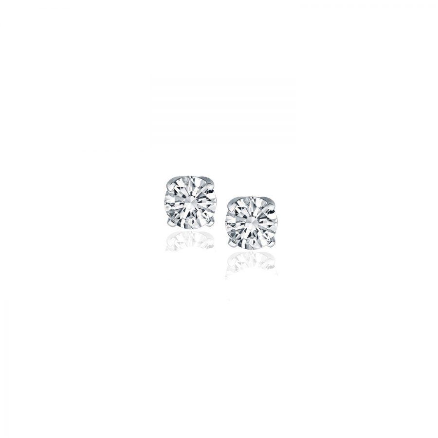14K White Gold Diamond Four Prong Stud Earrings (1/4 c.t. tw.)