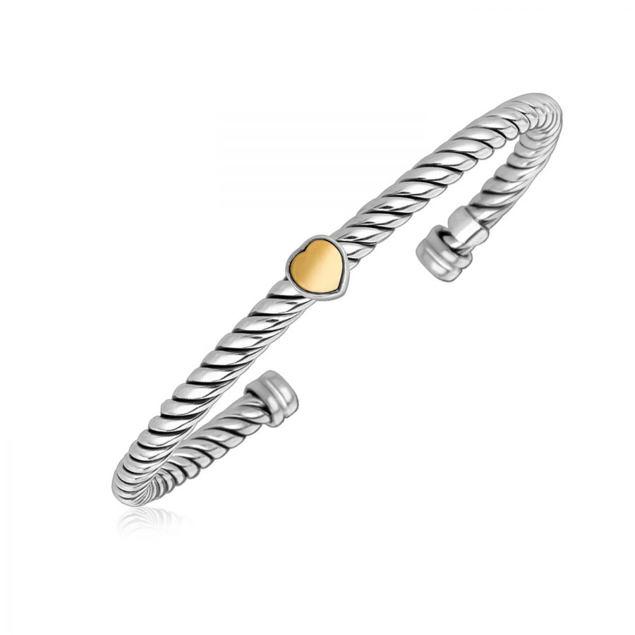 18K Yellow Gold and Sterling Silver Bangle with a Heart Motif Station