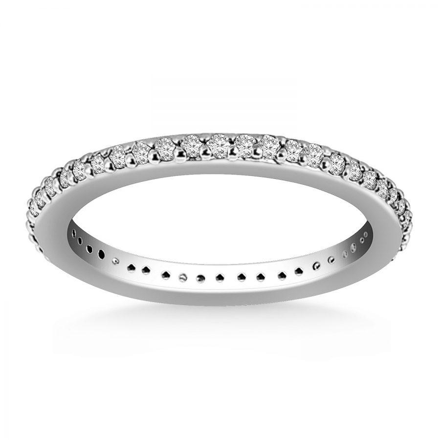 14K White Gold Round Diamond Eternity Ring