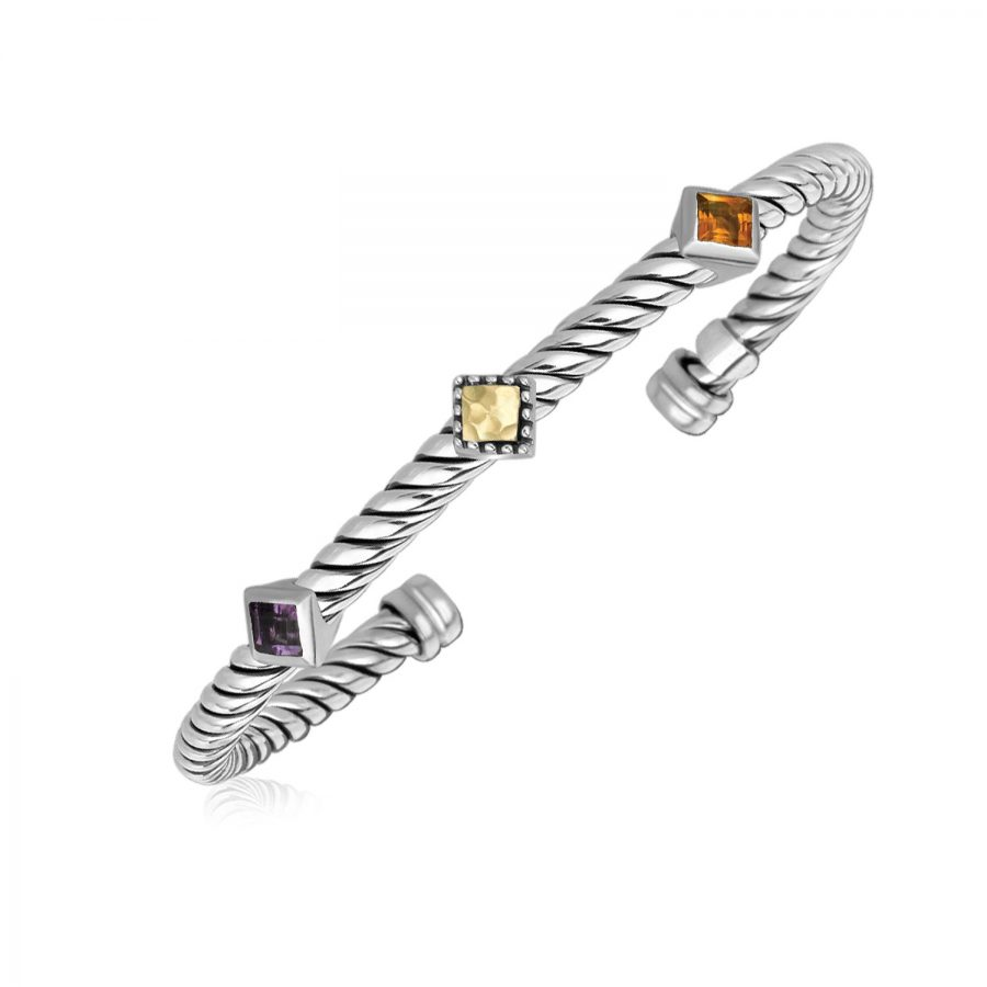 18K Yellow Gold and Sterling Silver Citrine and Amethyst Bangle