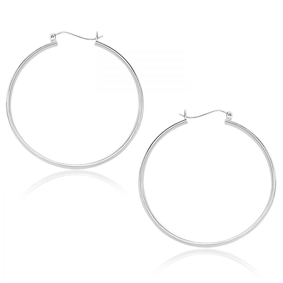 14K White Gold Polished Hoop Earrings (40mm)