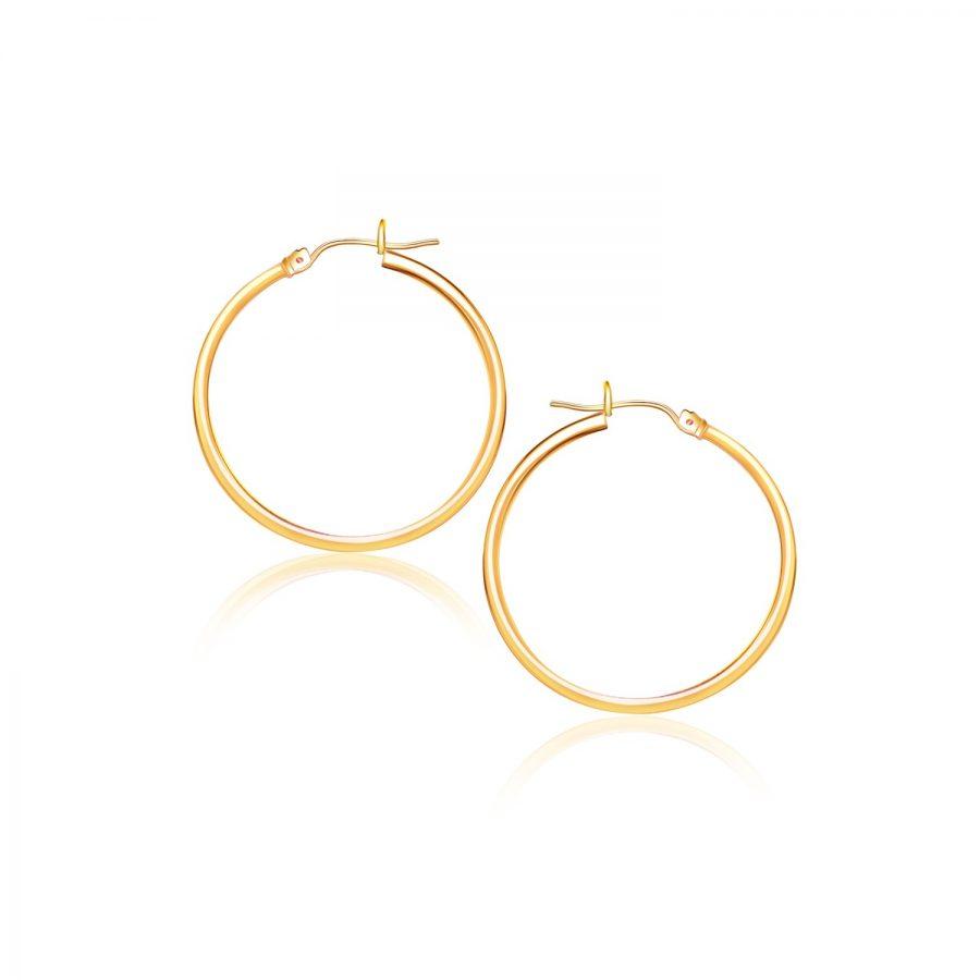 14K Yellow Gold Polished Hoop Earrings (40 mm)