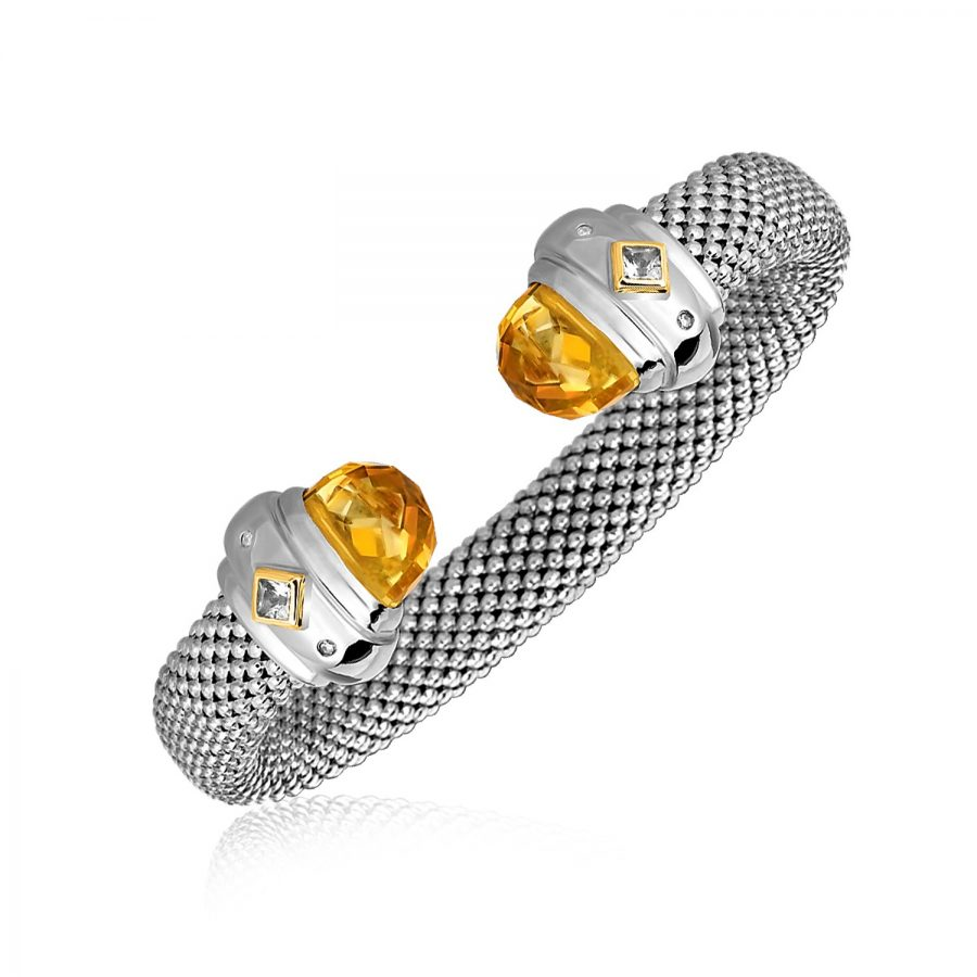 18K Yellow Gold and Sterling Silver Open Bangle with Citrine and Diamonds