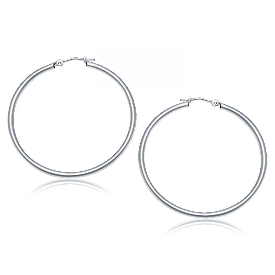 14K White Gold Polished Hoop Earrings (40 mm)