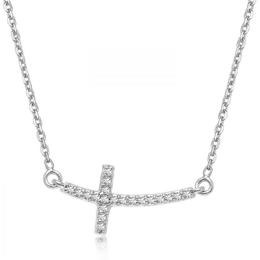 14K White Gold Curved Cross Diamond Studded Necklace (.11ct tw)