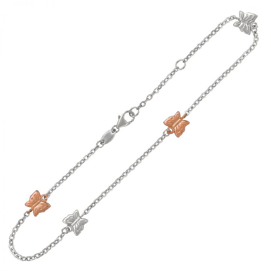 14K Rose Gold and Sterling Silver Anklet with Butterfly Stations
