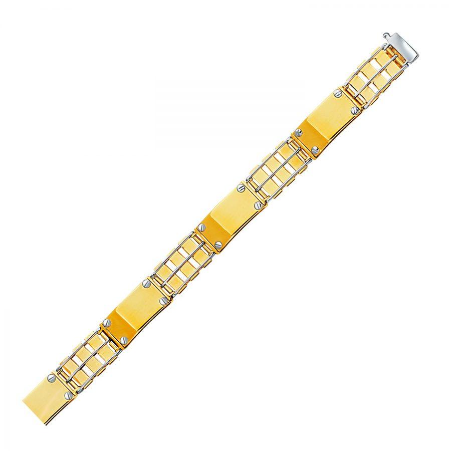 14K Two-Tone Gold Men's Bracelet with Screw Embellished Bar Links