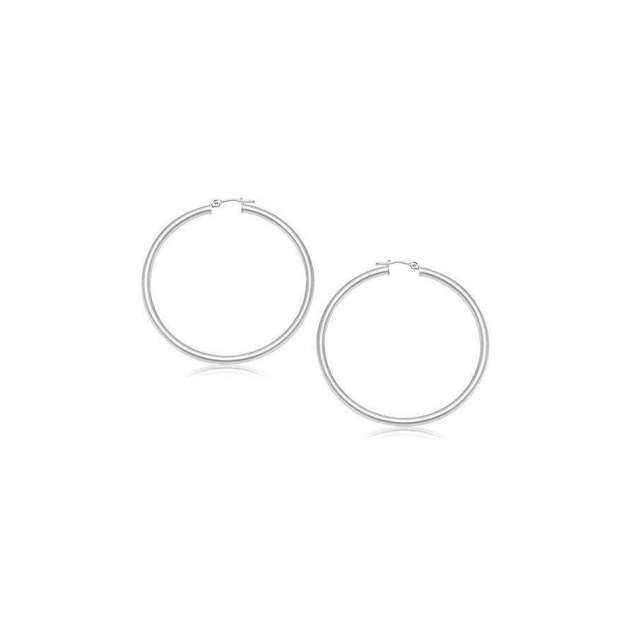 14K White Gold Polished Hoop Earrings (15 mm)