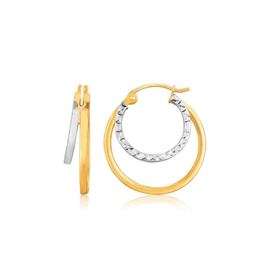 14K Two Tone Gold Double Hoop Hammered Texture Earrings