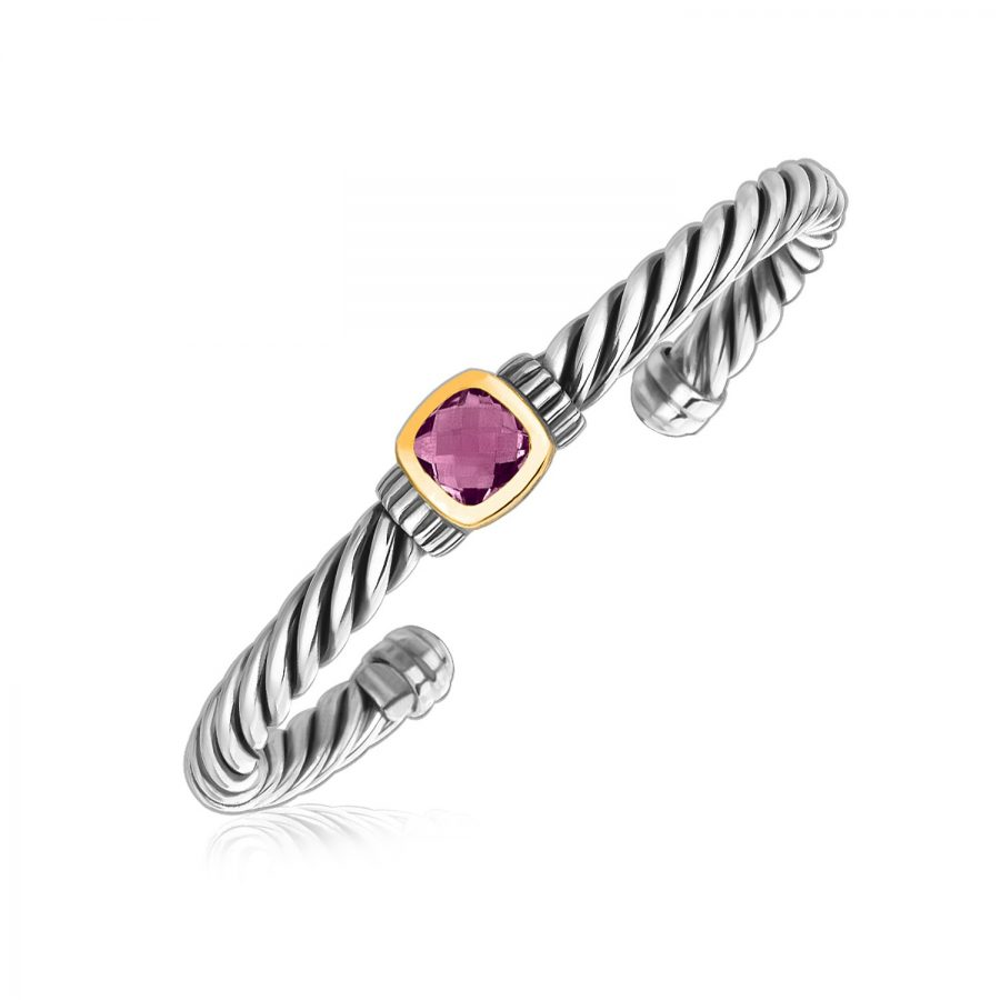 18K Yellow Gold and Sterling Silver Rope Cuff Bangle with Amethyst Centerpiece