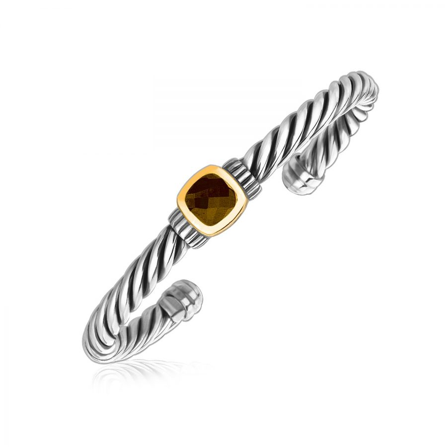 18K Yellow Gold and Sterling Silver Smokey Topaz Twist Style Cuff Bangle