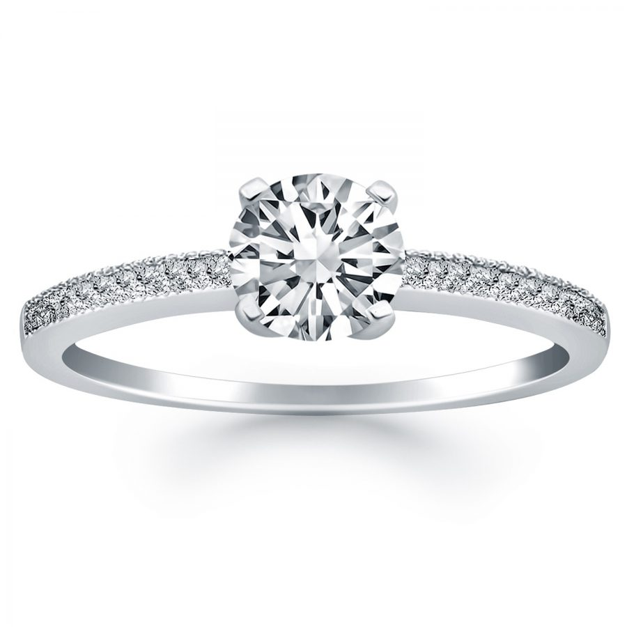 14K White Gold Classic Diamond Pave Solitaire Engagement Ring