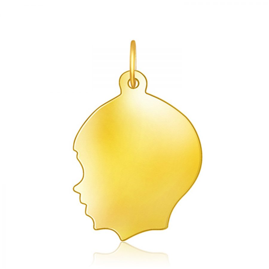 14K Yellow Gold Large Boy Head Charm