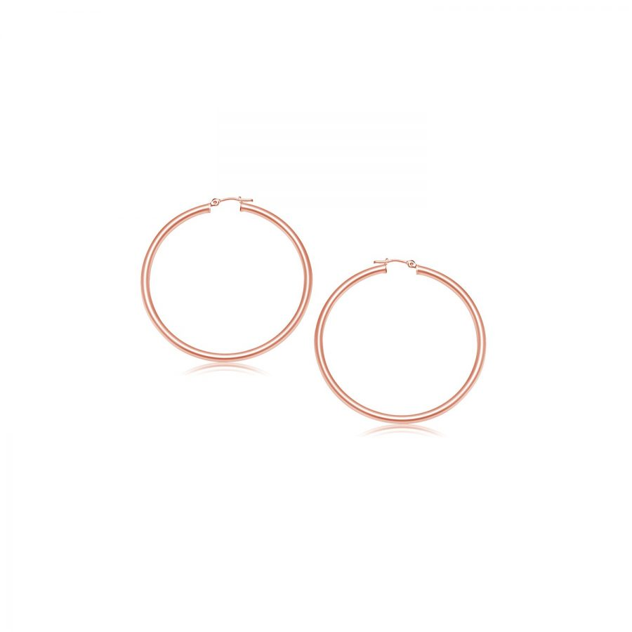 14K Rose Gold Polished Hoop Earrings (15 mm)