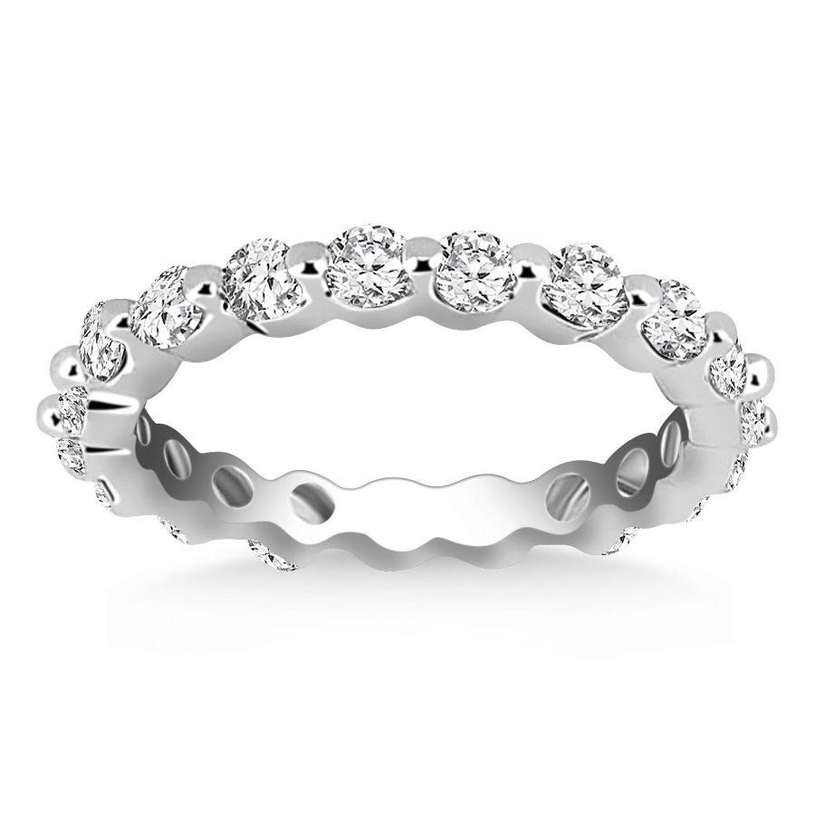 14K White Gold Common Prong Round Cut Diamond Eternity Ring