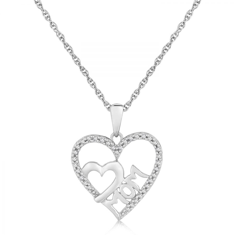Sterling Silver MOM Dual Heart Diamond Studded Pendant (.09 ct t.w.)