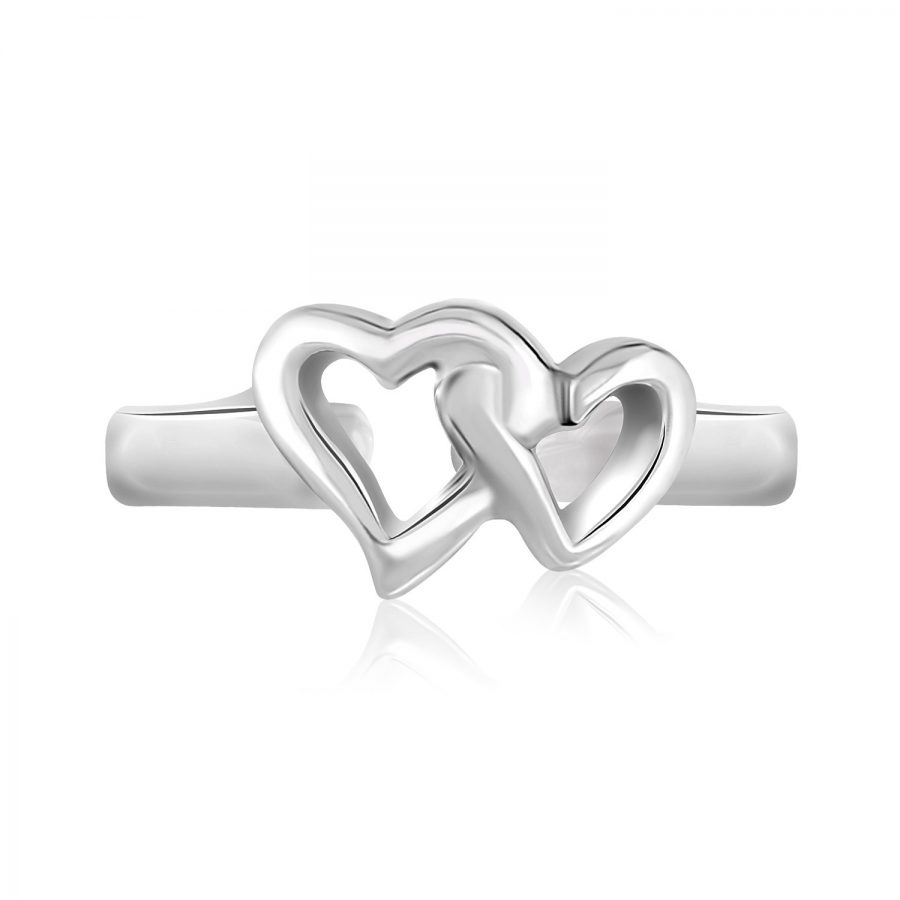 Sterling Silver Rhodium Finished Toe Ring with Intertwined Hearts