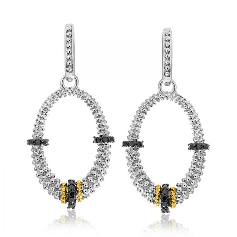 18K Yellow Gold & Sterling Silver Black Diamond Graduated Oval Earrings
