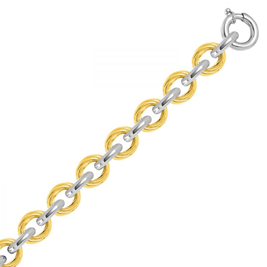18K Yellow Gold & Sterling Silver Rope Like and Polished Chain Bracelet
