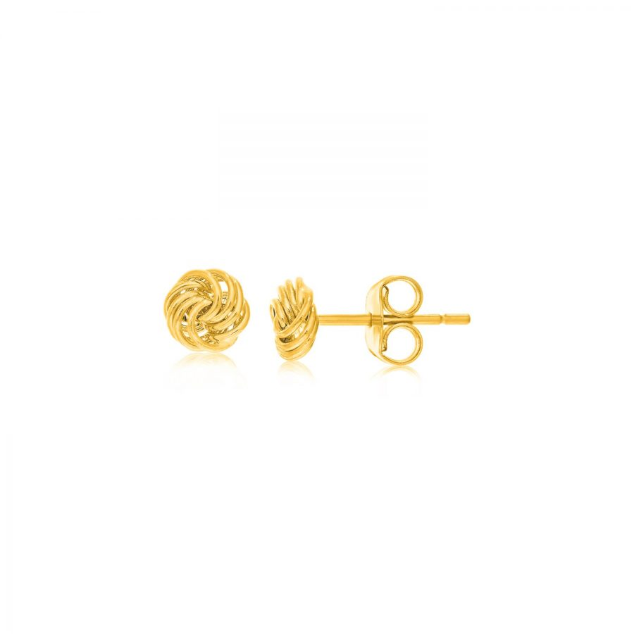 14K Yellow Gold Small Love Knot Motif Stud Earrings