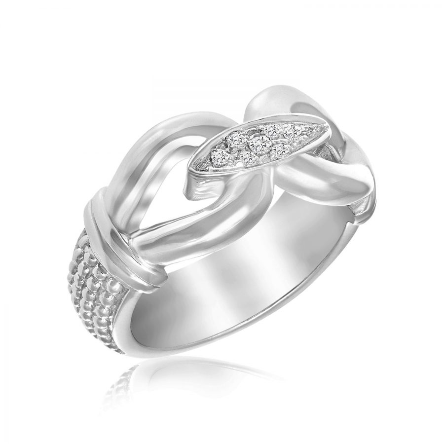 Sterling Silver Rhodium Plated Popcorn Loop Diamond Accented Ring (.06ct tw)