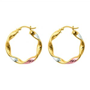 14K Two Tone Gold Hoop Earrings (7/8 inch)