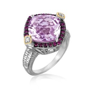 18K Yellow Gold and Sterling Silver Pink Amethyst  Rhodolite and Diamond Ring