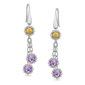 18K Yellow Gold and Sterling Silver Flower Style Amethyst Accented Earrings