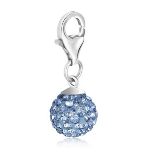Sterling Silver December Birthstone Charm with Blue Tone Crystal Embellishments