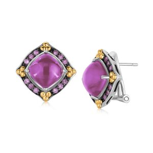 18K Yellow Gold and Sterling Silver Amethyst Earrings with Pink Sapphires