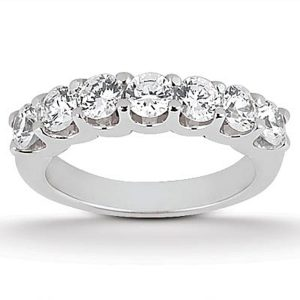 14K White Gold Diamond Scalloped Shared U Prong Setting Wedding Ring Band
