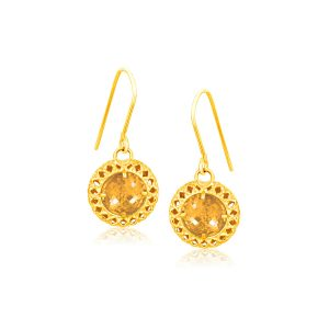Italian Design 14K Yellow Gold Crochet Earrings with Round Citrine