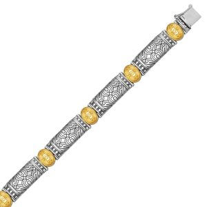 18K Yellow Gold and Sterling Silver Baroque Bracelet with Bar and Oval Links