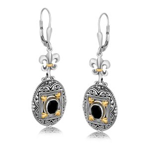 18K Yellow Gold and Sterling Silver Earrings with Framed Black Onyx Accents