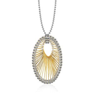 Designer Sterling Silver and 14K Yellow Gold Oval Thread Necklace