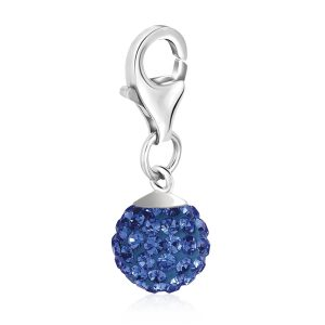 Sterling Silver September Birthstone Round Charm with Blue Tone Crystal Accents